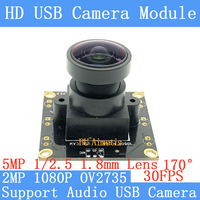 PU`Aimetis Surveillance camera 1080P HD MJPEG OV2735 Mini CCTV 30fps USB Camera Module Support audio Android Linux UVC