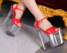 Plus:34-44 Multicolor fashion pumps women wedding shoes sexy 20cm ultra high thin heels Transparent crystal platform COS sandals