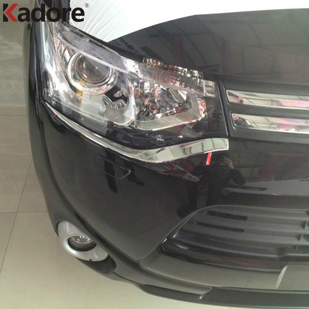 For Mitsubishi Outlander 2013 2014 ABS Chrome Headlight Eyebrow Trim Shiny Front Lights font b Lamp
