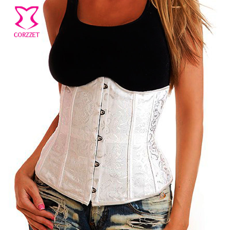 d59e6bc78fa Detail Feedback Questions about White Wedding Corset Underbust Waist  Trainer Corsetto Jacquard Corpetes Espartilhos Sexy Corsets and Bustiers  Bridal ...