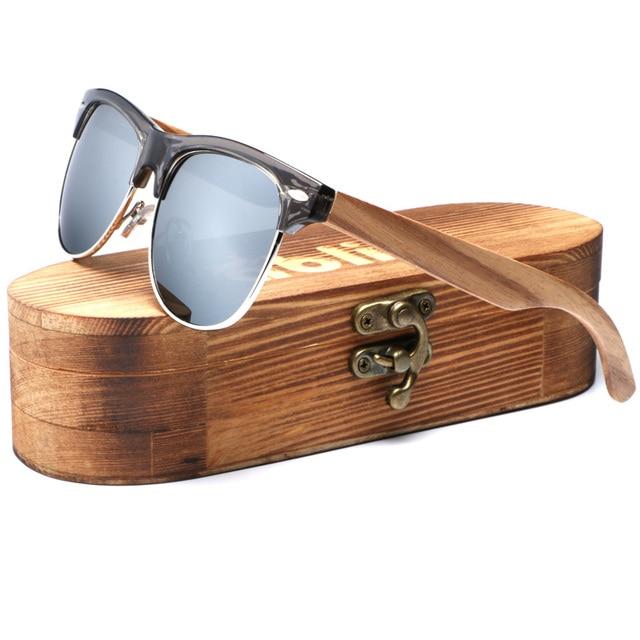 c8e85722899 Ablibi Classic Rimless Mens Polarized Wood Sunglasses for Men   Women with  100% UV Blocking