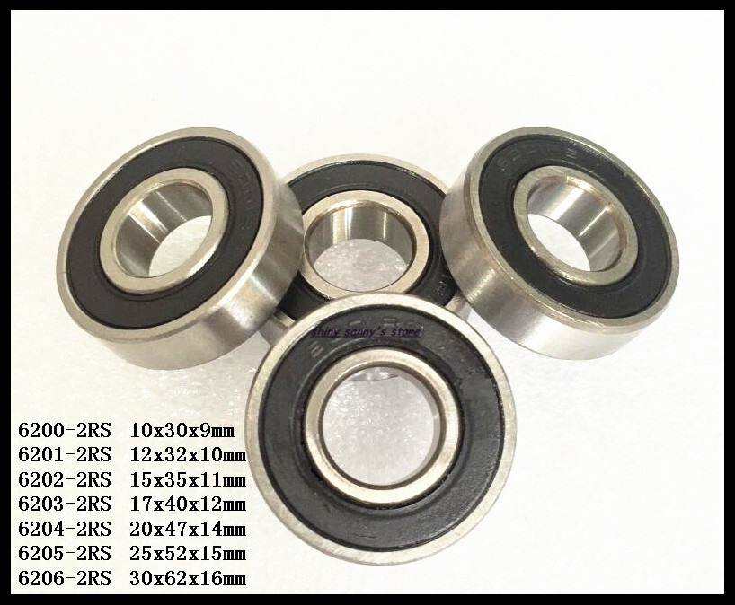 1-3pcs/Lot 6200-2RS,6201-2RS,6202-2RS,6203-2RS,6204-2RS,6205-2RS Rubber Sealed Deep Groove Ball Miniature Bearing Brand New diy 3w 270lm 6500k white light flat strip led module 9 10v