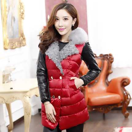 Фото 2014 New Korean Female Winter Down Vest Fashion Plus Size Cotton-Padded Zipper Stitching Fur Down Vest Free Shipping H1958