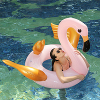 130cm Inflatable Flamingo Swim Ring With Gold Wing 2019 INS Giant Flamingo Pool Float Swim Floating Pool Party Fun Boias Piscina