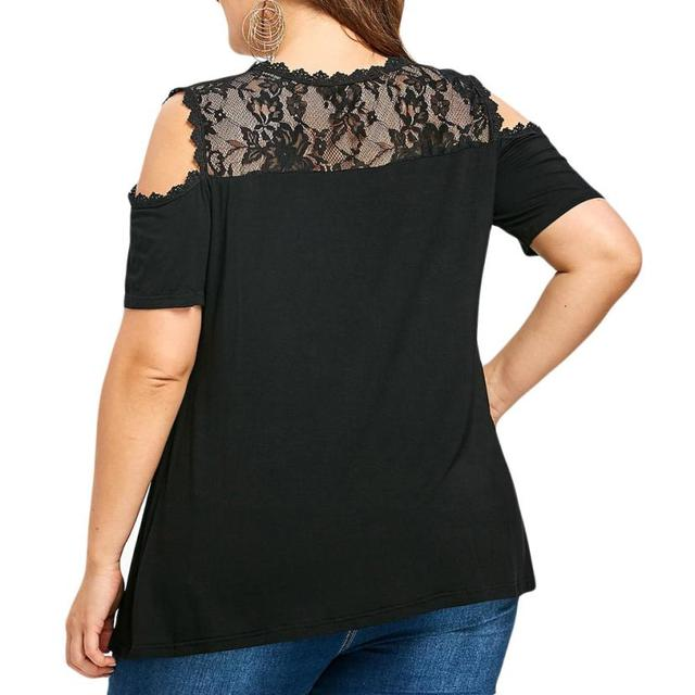 Plus Size 5XL Summer Womens Tops and Blouses Elegent Lace Patchwork O Neck Shirts Tunic Cold Shoulder Short Sleeve Women Clothes 4