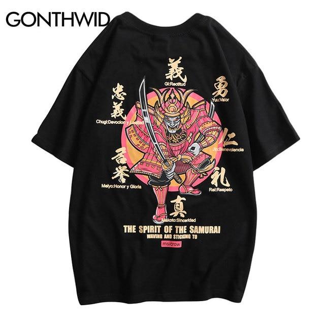 GONTHWID Japanischen Stil Samurai Gedruckt Kurzarm Streetwear T-shirts 2019 Männer Hip Hop Casual T Shirts Männlichen Harajuku Tees Tops