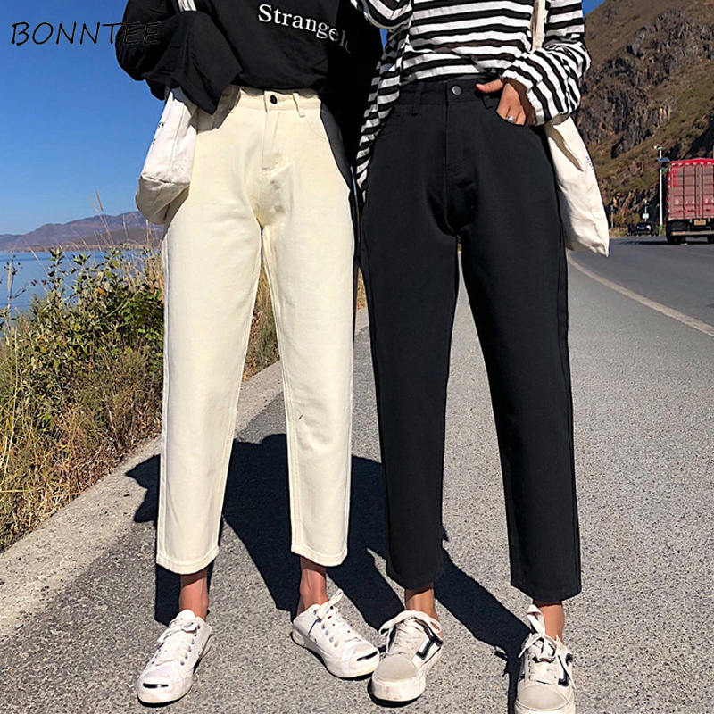 Jeans   Women Simple High Waist Korean Style Straight Female All-match Solid Pockets Womens Loose Ankle-Length Trousers Leisure