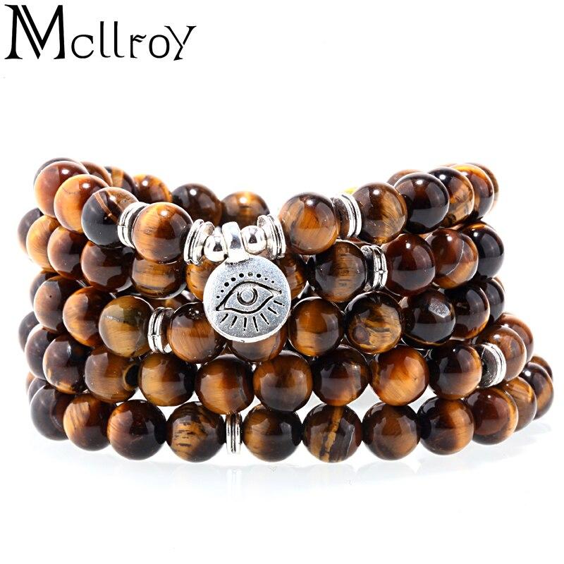 MCLLROY Moda o Olho Do Tigre 108 Mala Pulseira Budista Pulseira ou Colar de OLHO de Alta Qualidade Yogi Naturais Pulseira Pedra