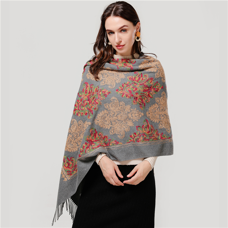 2020 Winter Women Scarf Fashion Embroidery Cashmere Scarves Shawls Lady Wraps Thick Warm Pashmina Bandana Foulard Blanket