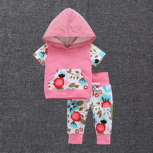 Newborn baby child 2 piece suit clothing set pink short-sleeved sweater hoodie  printing trousers girl leisure brand  suit