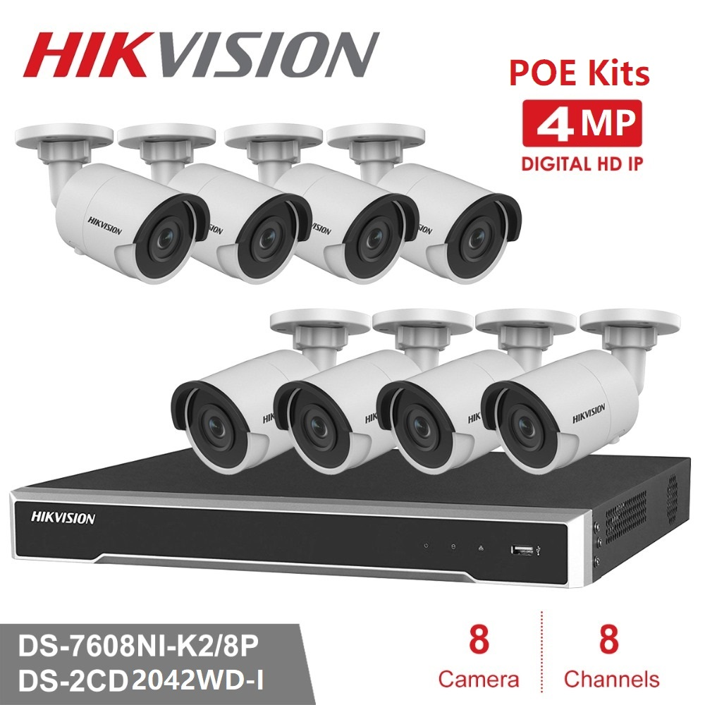 8Channels Hikvision POE NVR Video Surveillance Kits with 4MP IP Camera  Network Security Night Vision CCTV System