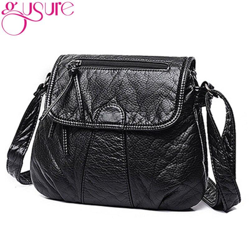 Gusure Soft PU Washed Leather Handbags Women Shoulder Bags Black Solid Color Messenger Bag Crossbody Postman Package