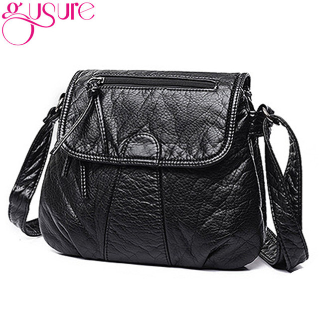 Gusure Soft Pu Washed Leather Handbags Women Shoulder Bags Black Solid Color Messenger Bag Crossbody Postman