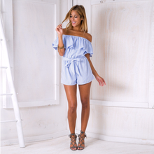 New Casual Ladies Ruffles Off Shoulder Strapless Loose Jumpsuits Rompers
