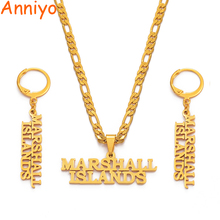 Anniyo Marshall Islands Necklaces Earrings Jewelry set Gold Color Jewellery Island Style Party Gifts #043121