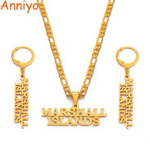 Anniyo Marshall Islands Necklaces Earrings Jewelry set Gold Color Jewellery Island Style Party Gifts #043121(China)