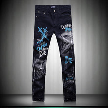 Fashion personality colored printing boutique tide brand jeans High-quality Korean style slim straight classical jeans men 28-38