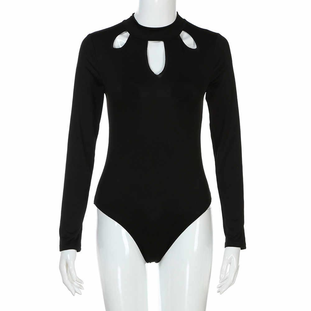 סתיו חורף Playsuit נשים שחור סקסי O צוואר ארוך שרוול בגד גוף חלול החוצה Clubwear Playsuit קצר סרבל HX0801