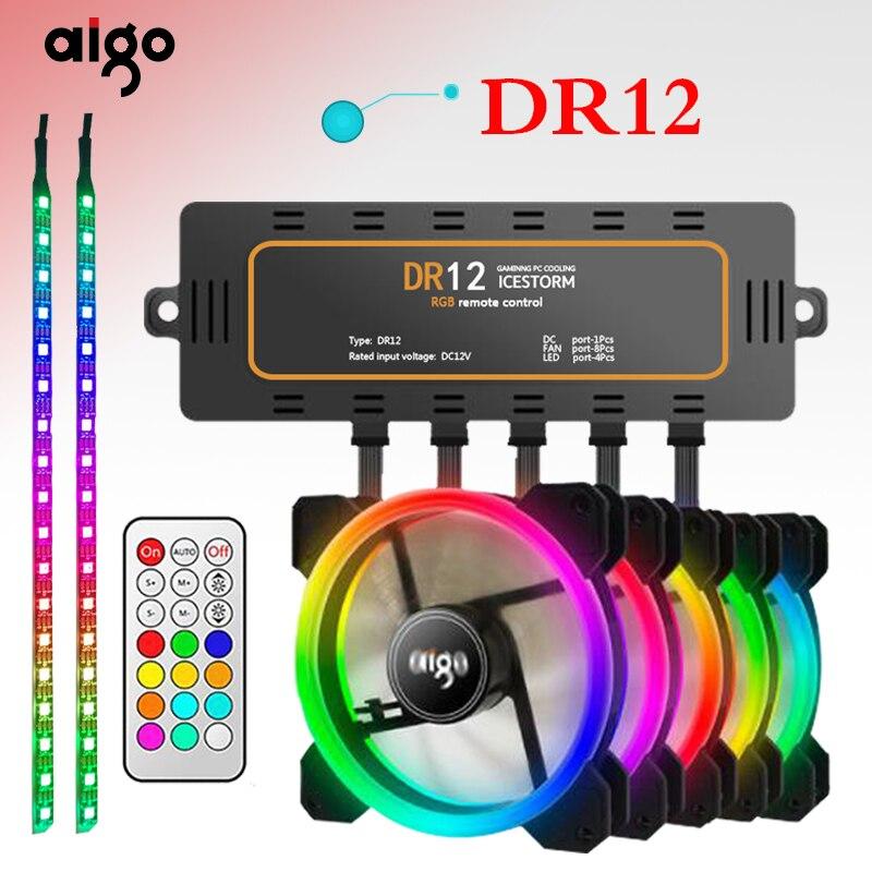 Aigo DR12 Computer Fall PC Lüfter Licht Bar RGB Einstellen LED 120mm Ruhig + IR Remote Kühler Fan led-leuchten magnet lampe streifen