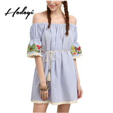Hodoyi sexy slash bordado de rayas mini dress boho moda hombro de la impresión floral vestidos de las mujeres elegantes de señora tie dress