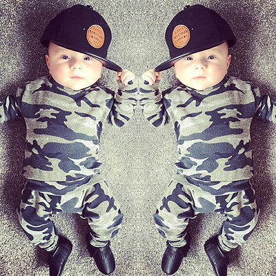 2pcs  new baby clothing set Toddler Infant Camouflage  Baby Boy Girl Clothes T-shirt Tops+Pants Outfits Set 5