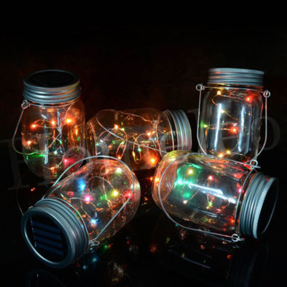 2017fashion 1m 2m Led Fairy Light Solar Mason Jar Lid