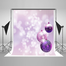 Christmas Photography Backdrops Suspended Purple Ball Photographic Background White Highlights Vinyl Backdrops for Photography