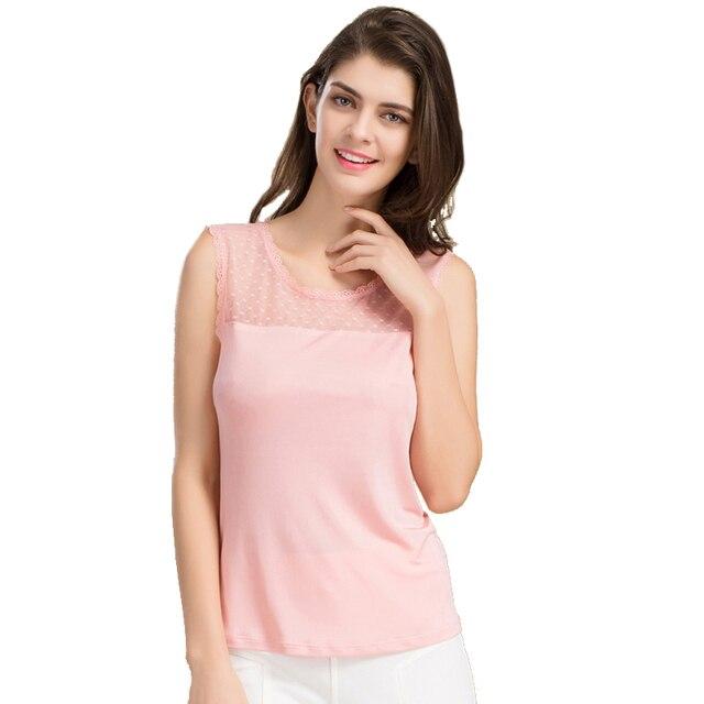 100% Pure Silk Women's Blouses Shirts Femme Casual Sleeveless Women Lace Collar Blusa Female Tank Tops Fashion Woman Tee Shirt