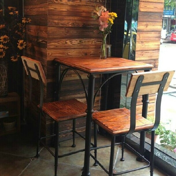 retro cafe table and chairs lime green office chair american country wood dining restaurant tables combination of a home bar