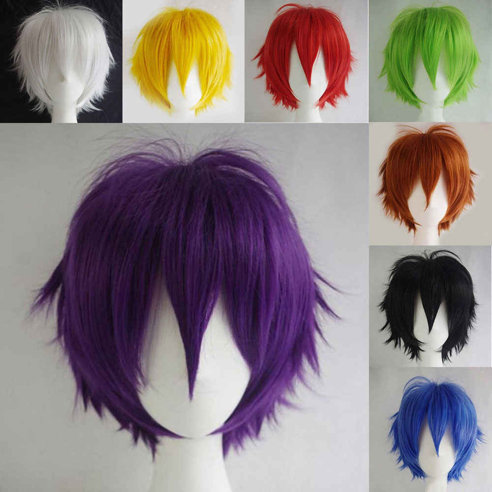 SNOILITE Black White orange Red Short Hair Cosplay Wig 30 Cm High Temperature Fiber Synthetic Hair Wigs for christmas party