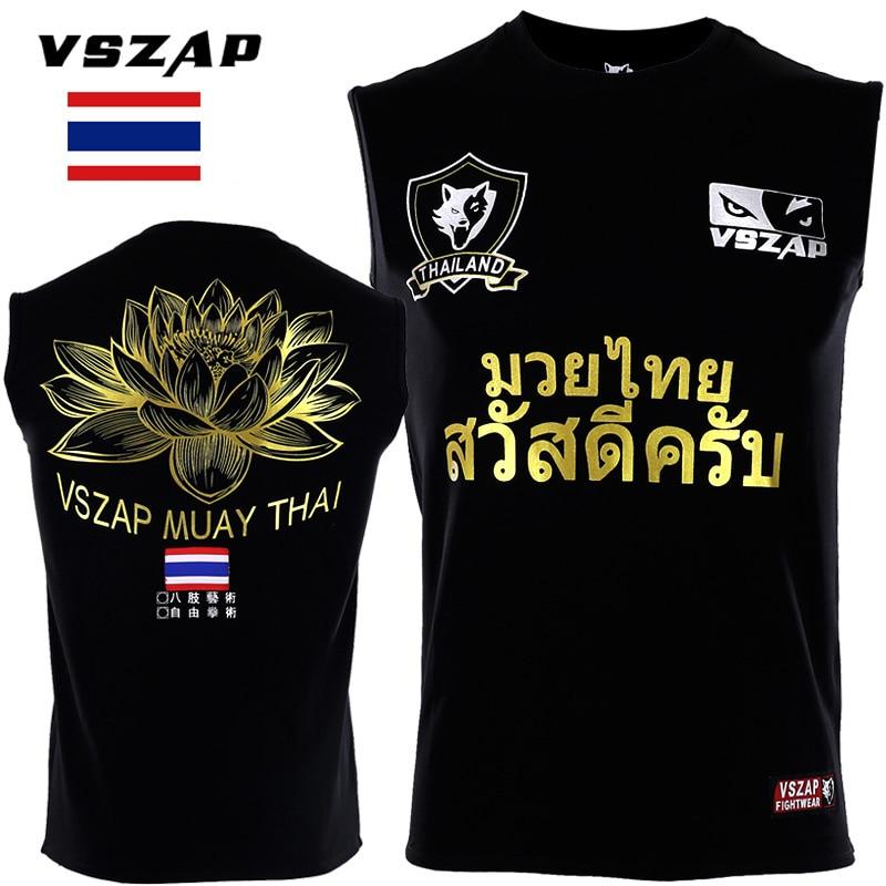 VSZAP Sleeveless T-shirt Men Sports Aerobics Running Boxing Clothing Boxing Gym T Shirt Cheap Mma Muay Thai MMA Suits Tee Shirt