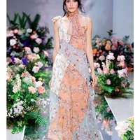 Cosmichic Floral Patchwork Maxi Dress Spaghetti Strap Silk Irregular Dress Prairie Chic Style Summer Beach Long Runway Dress