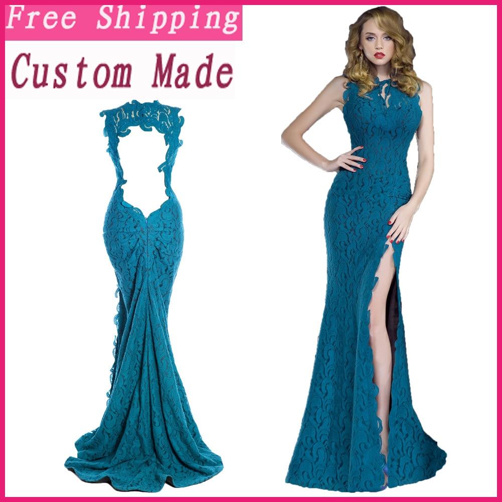 2d80391ce 2018 la muestra verdadera elegante azul turquesa sin mangas de encaje  vestido de noche sirena largo Partido de las mujeres de la madre de la  novia en ...