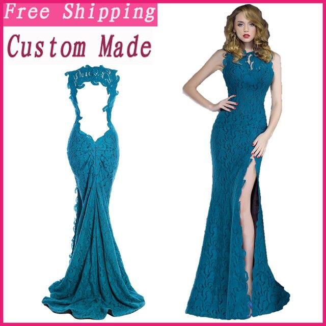 d999daece 2018 muestra Real elegante azul turquesa sin mangas de encaje vestido de  noche sirena largo mujeres