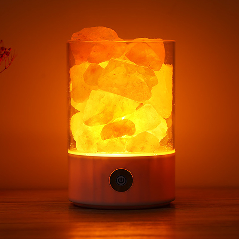 FENGLAIYI Volcano Himalayan Crystal Salt Night Light USB Charging Touch Dimmer Switch Natural Air Purifier Bedroom Bedside Lamp new led night light eu us plug himalayan salt lamp air purifier crystal salt rock night lamp for office desk bedside bedroom