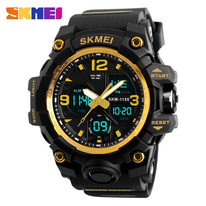 2016 SKMEI 1155 Big Dial Men Digital Watch S SHOCK Military Clock Water Resistant Date Calendar LED Sports Watches
