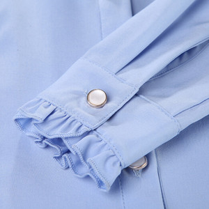 Image 5 - Naviu 고품질의 흰색 블라우스 패션 여성 전체 슬리브 캐주얼 셔츠 우아한 프릴 칼라 사무실 레이디 탑 여성 의류