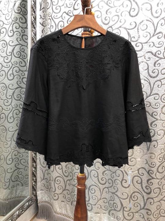 Abbigliamento Manica Nuove 2019 Tondo 303 Colletto Modo Fuori Camicia Di Netto Burlone La Donne Scava Larga T4qq8IF