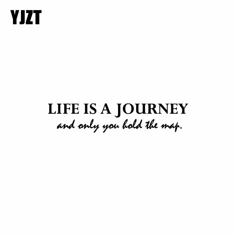 YJZT 20CM*4.1CM Fashion Fun LIFE IS A JOURNEY AND ONLY YOU HOLD THE MAP Vinyl Decal Car Sticker Black/Silver C11-0941