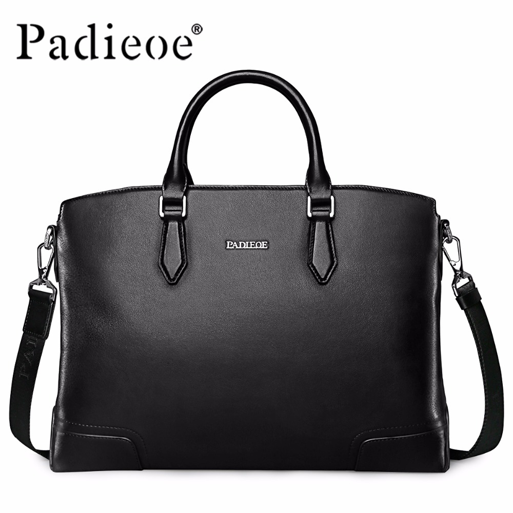 Brand Handbag Padieoe Men Shoulder Bags Messenger Bag Genuine Leather Briefcase Men's Business Casual Tote Laptop Bag Free Ship bvp free shipping new men genuine leather men bag briefcase handbag men shoulder bag 14 laptop messenger bag j5
