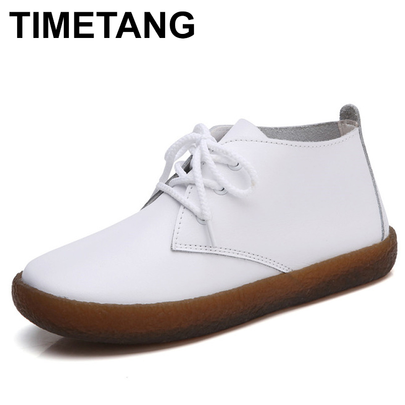 TIMETANG New Autumn Solid Soft Genuine Leather Rubber Casual Non Slip Soft Comfortable Bottom Women Leisure Shoes C232 2017 autumn and winter new plus velvet thick women s boots soft bottom comfortable breathable mother shoes wild leather