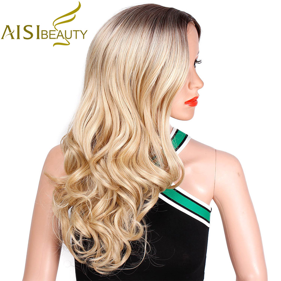 AISI BEAUTY Synthetic Ombre Wavy Long Wigs For Women Grey Red Black Brown Blonde White Wig Cosplay Heat Resistant Hair