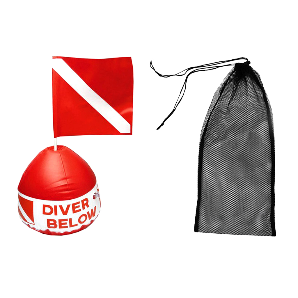 Diving Swimming Fin Shoes Mesh Bag + Scuba Flag Marker with Inflatable Buoy for Freely Adjustable Diving Swimming Equipment