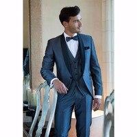 2017 Navy Blue men suit Custom Made Mens Tuxedos Slim Fit Grooms Men Wedding Suits With Pants Shawl Lapel Jacket+Pants+Tie +Vest