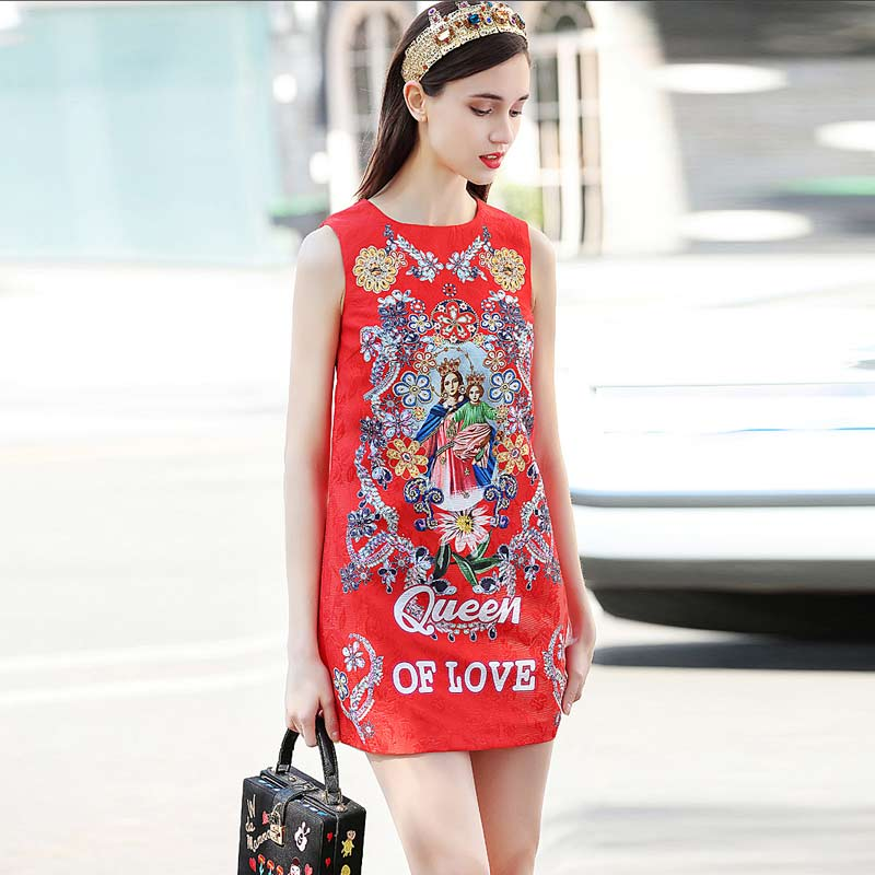 XF 2018 High-Quality Fashion Designer Runway Summer Chinese Style Cheongsam Slim Women'S Large Rose Print Slim <font><b>Dress</b></font> image