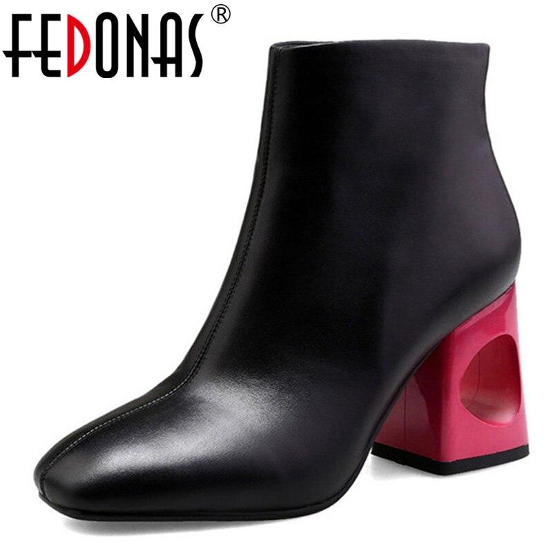 FEDONAS Brand Women Basic Boots High Heeled Autumn Winter Warm Short Ladies Shoes Woman Side Zipper
