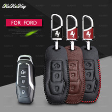 Genuine Leather Car Key Cover Case For Ford Mustang Edge Mondeo 2013 Smart Remote Shell Styling Accessories