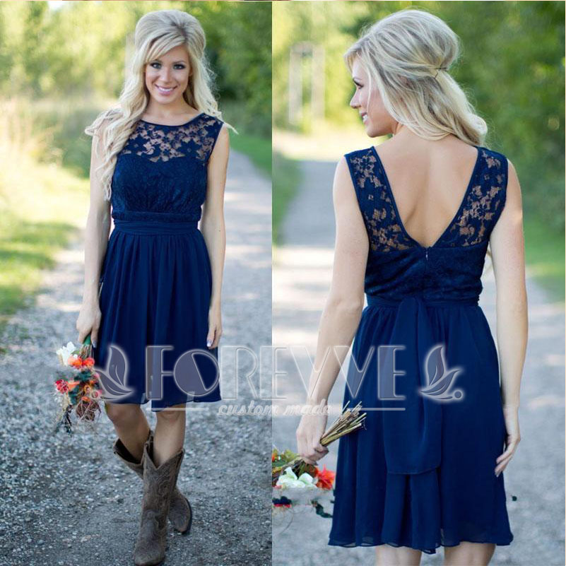 Royal Blue Lace Short   Prom     Dress   2019 Backless Knee-Length A-Line Birdesmaid Gown Wedding Party   Dresses   Vestidos De Fiesta Curto