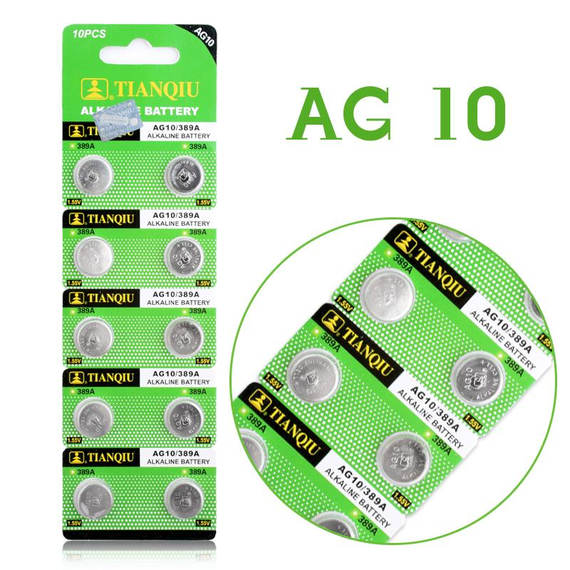 Hot Selling 10pcs AG10 Watch Battery 1.55V LR54 LR1130 L1131 389 189 Alkaline Batteries Button Cell Coin