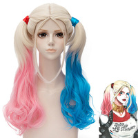 Suicide squad Clown cosplay wig Harley Quinn Gradient Wig Double Magma Wig Hair Wigs Blue Red